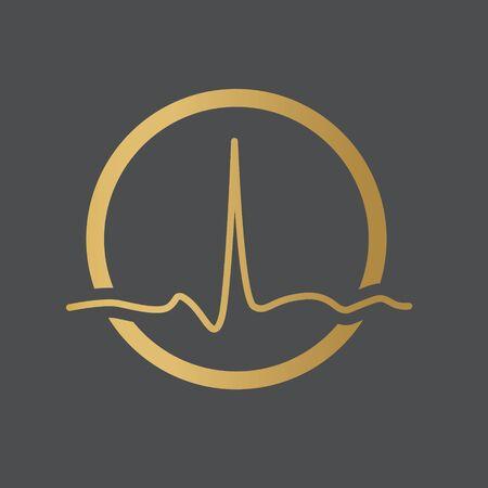 heartbeat, electrocardiogram icon- vector illustration