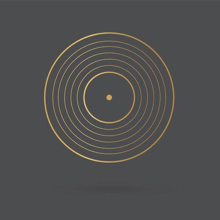 golden vinyl icon- vector illustration