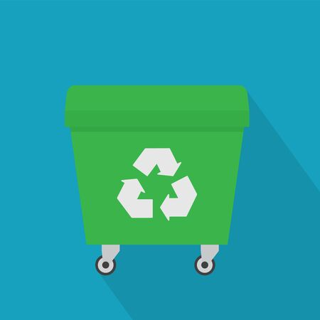 green garbage dumpster icon- vector illustration
