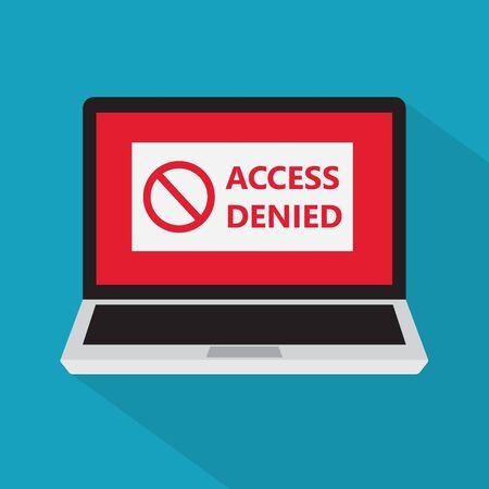 access denied sign on a laptop screen icon- vector illustration Vektoros illusztráció