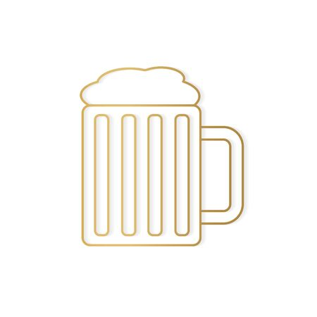 golden pint of beer icon- vector illustration