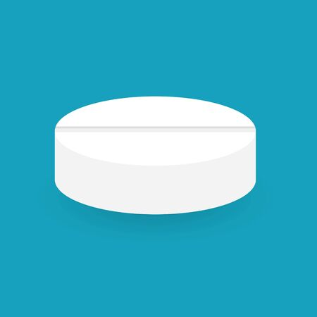 white medical pill icon- vector illustration