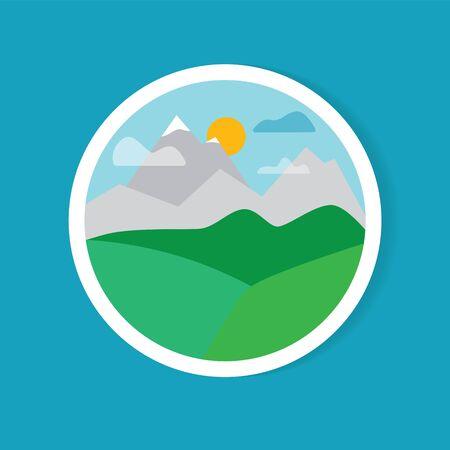 autocollant de paysage de montagne - illustration vectorielle