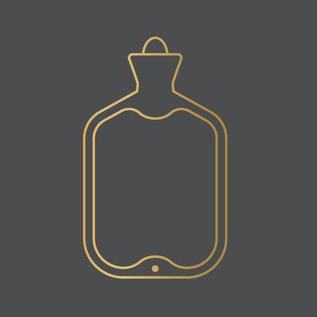 golden rubber hot water bag icon- vector illustration
