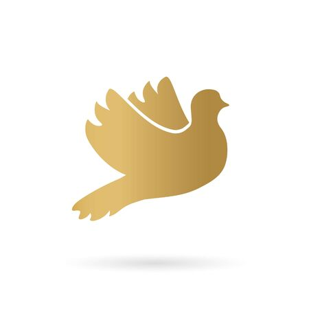 golden dove of peace icon- vector illustration 向量圖像