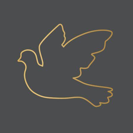 paloma dorada, de, paz, icono, vector, ilustración Ilustración de vector
