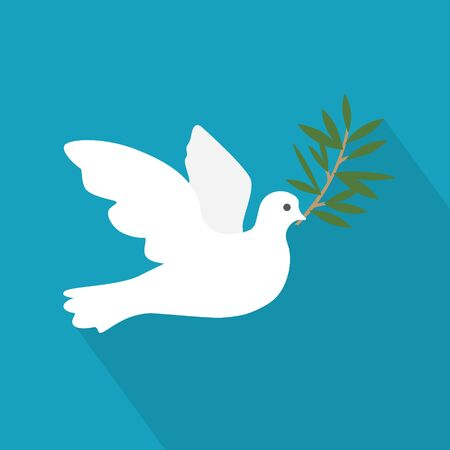 golden dove of peace with an olive branch- vector illustration