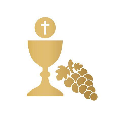 golden holy communion icon- vector illustration Ilustracje wektorowe