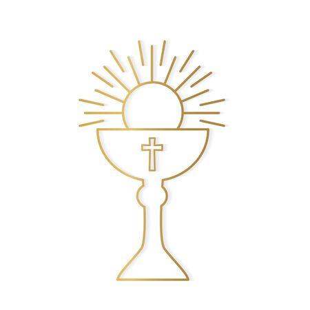 golden holy communion icon- vector illustration