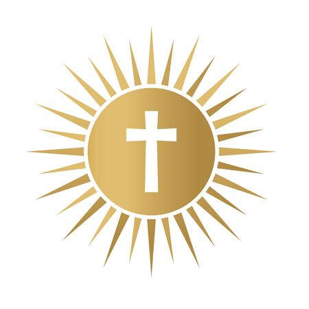 golden holy communion icon- vector illustration Stock Illustratie