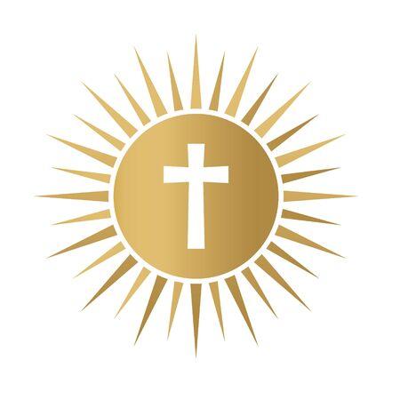 Goldene heilige Kommunion-Symbol-Vektor-illustration Vektorgrafik