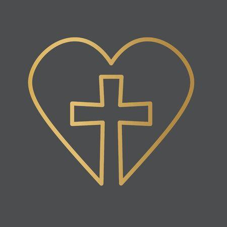 golden cross and heart, mercy concept- vector illustration