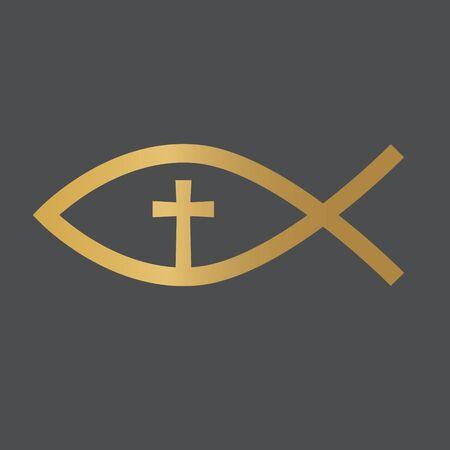golden christian fish jesus symbol- vector illustration