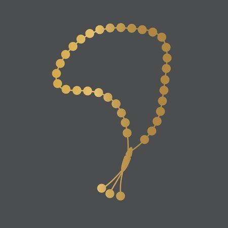 golden misbaha, tasbih icon- vector illustration