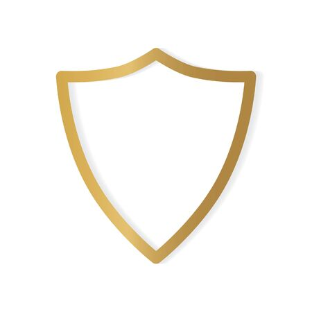 golden shield icon- vector illustration