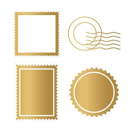 golden postage stamp frame icon- vector illustration