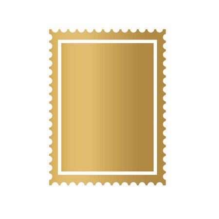 golden postage stamp frame icon- vector illustration  イラスト・ベクター素材