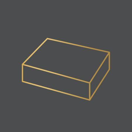 golden cuboid icon- vector illustration