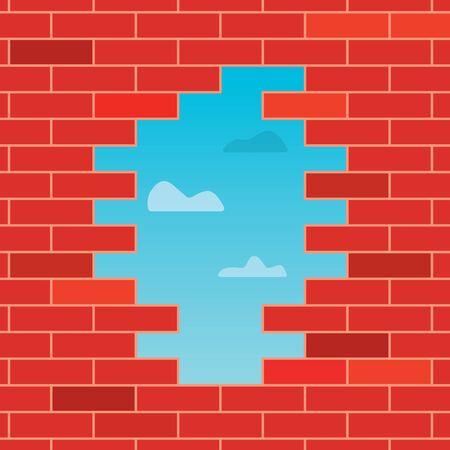 trou dans le mur de briques- illustration vectorielle