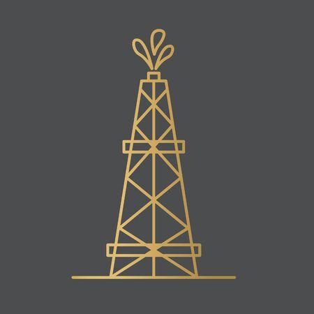 golden oil rig icon- vector illustration