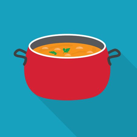 cooking pot with soup- vector illustration