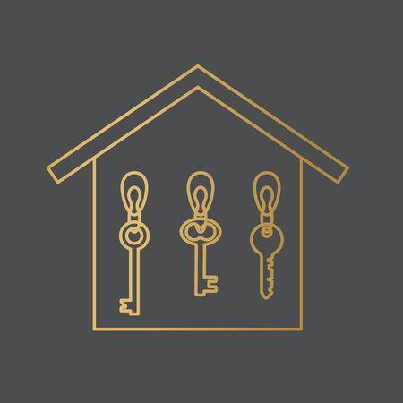 golden key hanger icon- vector illustration