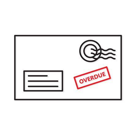 overdue bill envelope icon - vector illustration