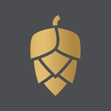 golden hop cone icon- vector illustration