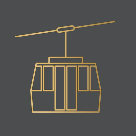 golden funicular railway icon - vector illustration