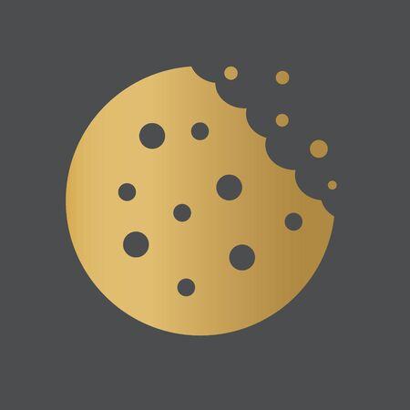 golden bitten cookie icon - vector illustration