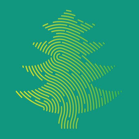 christmas tree filled with fingerprint pattern - vector illustration