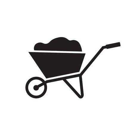 black wheel barrow icon- vector illustration