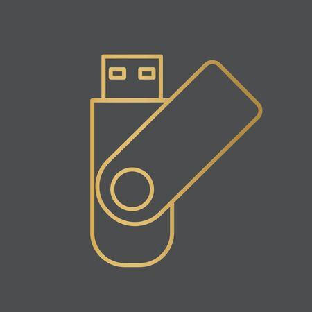 golden USB flash pen drive icon- vector illustration 向量圖像