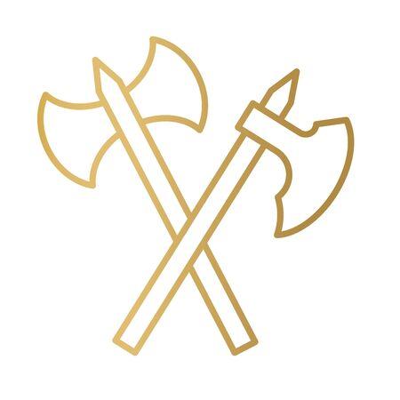 crossed golden axe icon- vector illustration Illustration