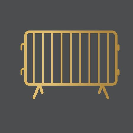 golden secure metal barricade icon- vector illustration