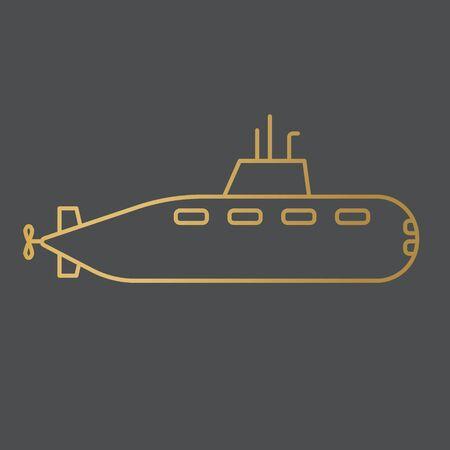 golden submarine icon - vector illustration