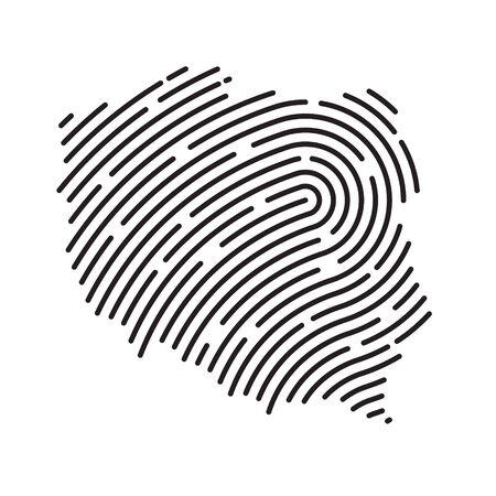 Poland map filled with fingerprint pattern- vector illustration Ilustração