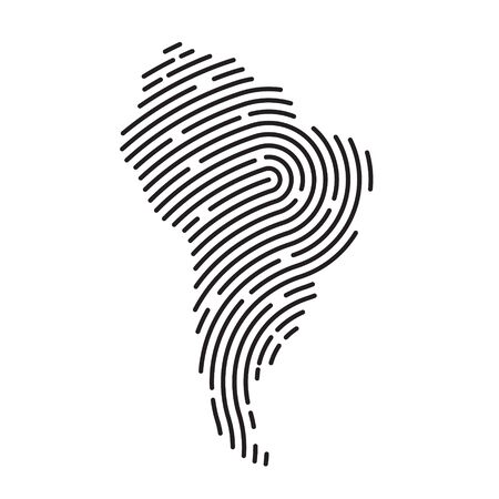 South America map filled with fingerprint pattern- vector illustration