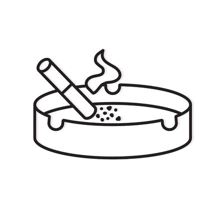 burning cigarette in ashtray icon