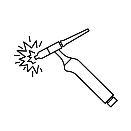welding torch with spark icon- vector illustration