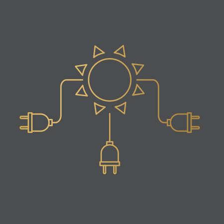 golden sun with a power plug, green renewable energy concept- vector illustration