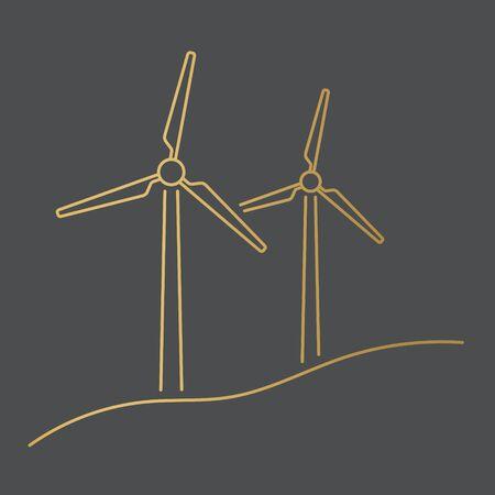 golden windmill turbine, green renewable energy concept- vector illustration Illusztráció
