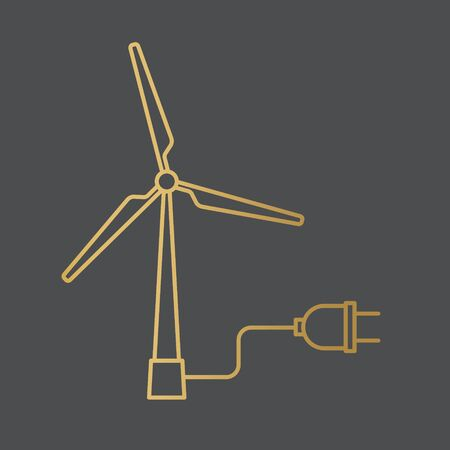 golden windmill turbine with a power plug, green renewable energy concept- vector illustration