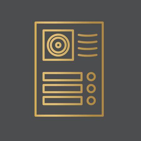 golden video intercom icon- vector illustration Illusztráció