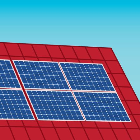 roof with solar panels- vector illustration Ilustrace