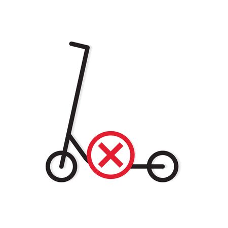 no kick scooter allowed icon- vector illustration