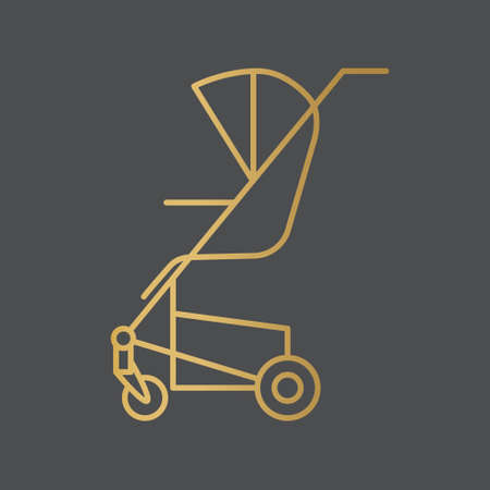 golden baby stroller icon- vector illustration