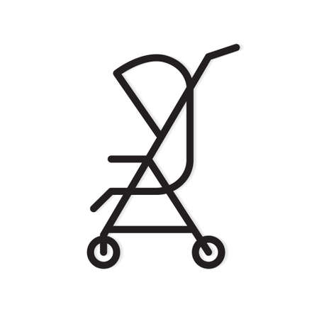 black baby stroller icon- vector illustration Vectores