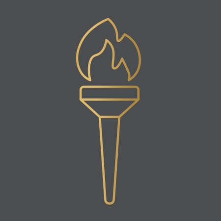 golden torch icon- vector illustration