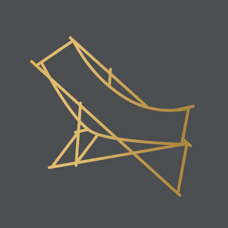 golden beach sun deck chair icon- vector illustration
